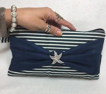 Wristlet Nautical Purse Nautical Bag Starfish by IsidoraDesigns