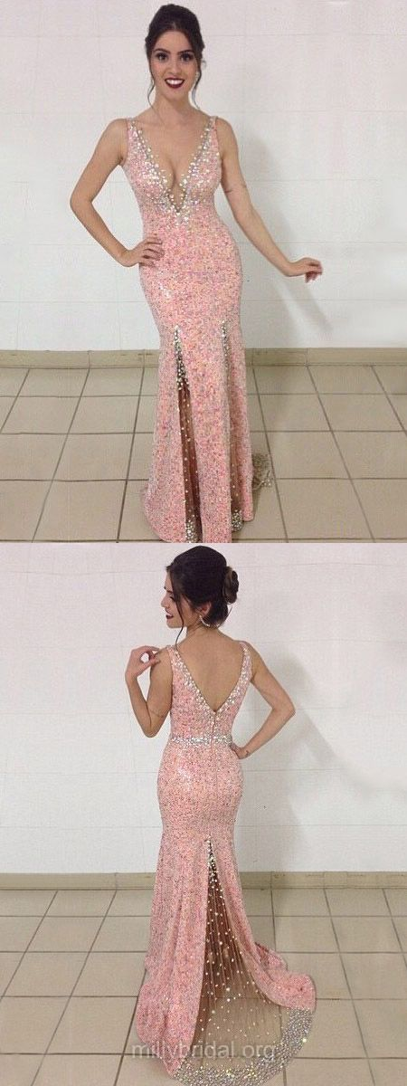 Mermaid Prom Dresses Pink, Long Formal Dresses 2018, V-neck Party Dresses Tulle Cheap, Beading Backless Evening Dresses Sexy