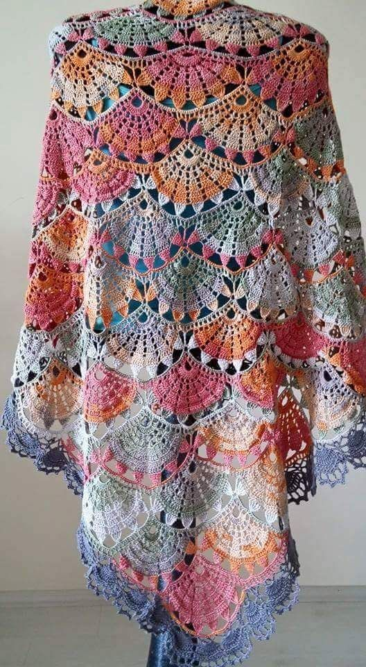 Rectangular Crochet Shawl - Free Crochet Diagram - (crocheet.blogspot) ༺✿ƬⱤღ https://www.pinterest.com/teretegui/✿༻