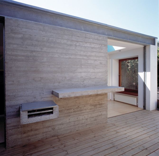Love the simple barbecue space with shelf. Horizontal concrete mimicking horizontal wood.
