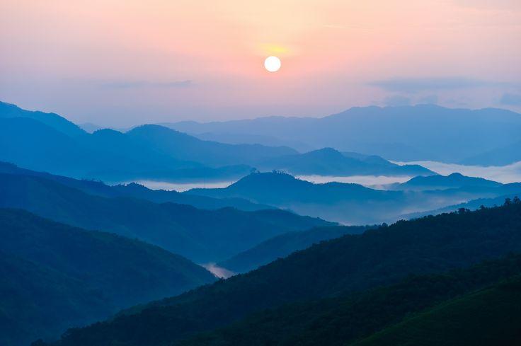 Laos sunrise...Sunrise in Phongsali Mai district Northern Laos by Ari Vitikainen on 500px.