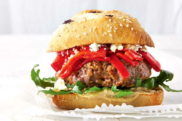 Try this speedy Mediterranean #burger for a simple weeknight meal.