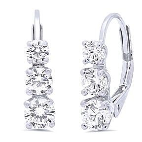 2.55 Ct 3 Stone Brilliant Cut Earrings D/Vvs1 14K White Gold Past Present Future by JewelryHub on Opensky
