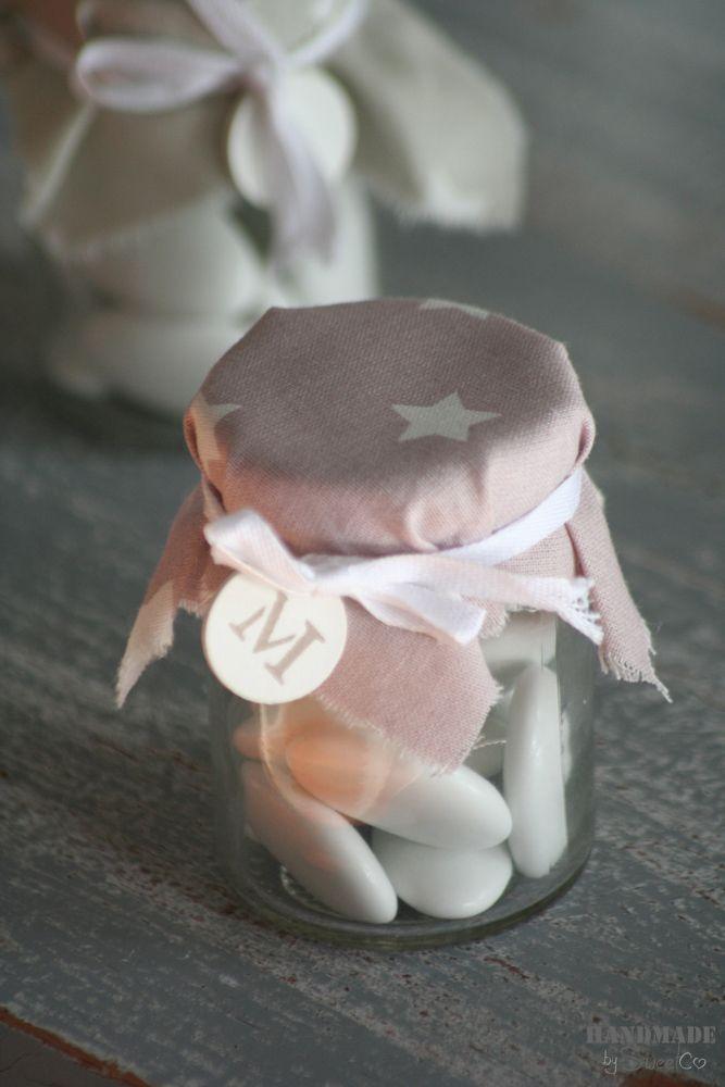 Bote de #cristal con tapa de tela y medalla personalizada
