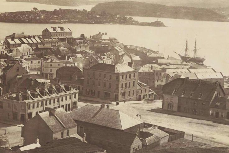 The Rocks in Sydney in 1874.One can see the Lord Nelson Hotel.