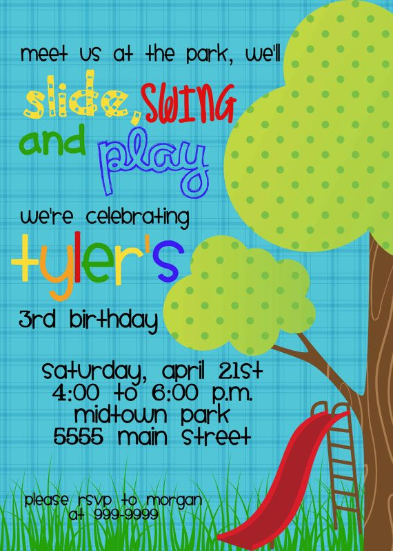slide swing and play it's a perfect invitation for a park birthday!  magic by marcy designs