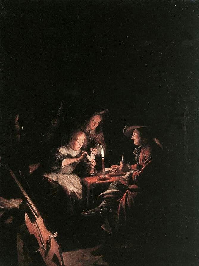 Gerrit Dou - Cardplayers at Candlelight, c. 1660, Oil on wood, Residenzgalerie, Salzburg