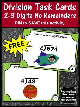 FREE Division Task Cards 4th and 5th Grade Math Games & Activities No Remainders
