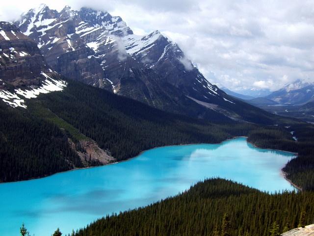 El #lago #Peyto se ubica en las Montañas Rocosas canadienses, en Alberta, dentro del Parque Nacional #Banff. Con casi tres kilómetros de longitud y situado a una altitud de mil ochocientos metros, este hermoso lago de origen glaciar, rodeado de verdes bosques de coníferas y montañas culminadas por níveas cumbres es sin lugar a dudas uno de los paisajes más bellos del planeta.