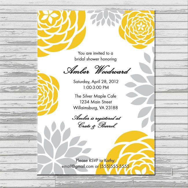 yellow and gray grey bridal shower invitation customized 5x7 printable modern flower print yellow and gray bridal shower invites