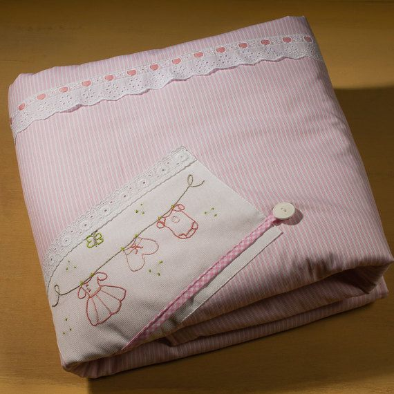 hand embroidered baby girl's blanket Ηappy by babysdreamfairytales