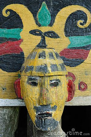 Traditional Dayak tribal culture. Ancient detail Dayak house - longhouse in Long Hubung village. East Kalimantan, Indonesia, Borneo.