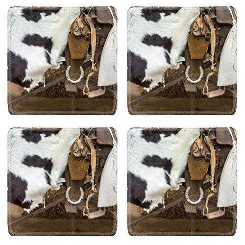 Liili Natural Rubber Square Coasters IMAGE ID: 22534073 Horse equipment in cowboy style