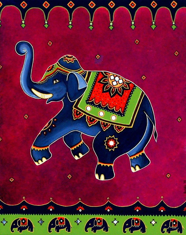 Royal Elephant Painting by Bindu Viswanathan