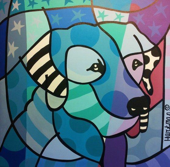 De blauwe hond. van Els Hartman | Hond in verschillende blauw en paars tinten. Dit kleurrijke schilderij is geschilderd op een doek van 4 cm dik. de zijkanten van het doek zijn meegeschilderd. Aan de achterkant heeft een ophangsysteem, waardoor het doek klaar is om opgehangen te worden. Is dit niet uw favoriete die, laat het me weten, ik maak graag een schilderij met uw dier in de hoofdrol, op de door u gewenste maat!