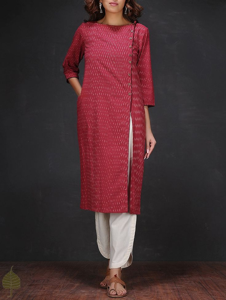Buy Red White Ikat Boat Neck Handloom Cotton Kurta Women Kurtas Online at Jaypore.com