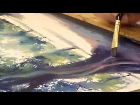 Demonstration d'aquarelle , arbres en contre jour - YouTube