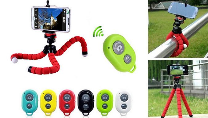 Buy Octopus Camera Tripod - Optional Remote, 6 Colours for just £8.99 Position your camera on any surface with aOctopus Camera Tripod      Completely flexible, arrange it to any position      Rubberised feet, rings and link cushion      Made of durable, hard plastic      Level out your camera even on the most difficult surfaces      Suits most digital cameras, including smartphones     ...
