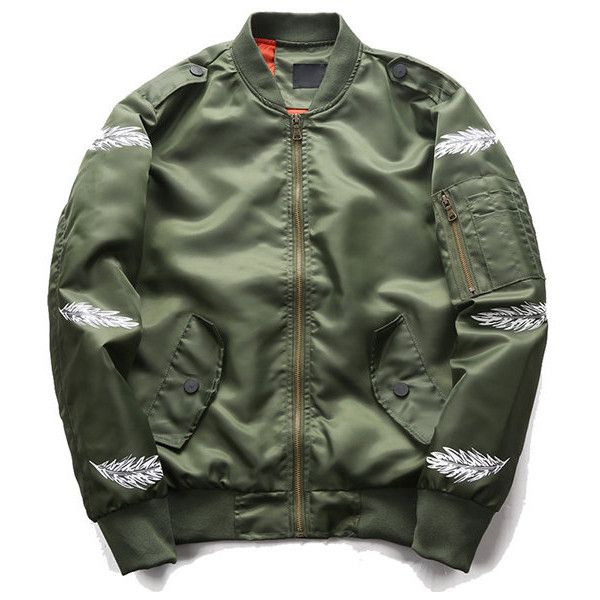 Feather Sleeve Bomber Jacket ($32) ❤ liked on Polyvore featuring men's fashion, men's clothing, men's outerwear, men's jackets, mens polyester bomber jacket, men's sherpa lined jacket, mens green bomber jacket, mens fur lined bomber jacket and mens zipper jacket