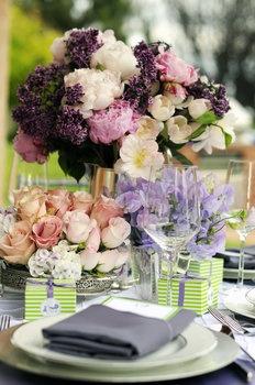 Wedding, Flowers, Reception, Pink, White, Green, Purple, Silver