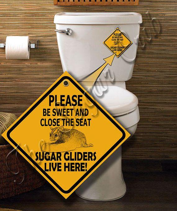 Sugar Glider Bathroom Warning Sign by sugarcrib on Etsy