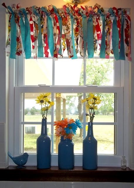 Window treatments from scraps.. Painted vases...
