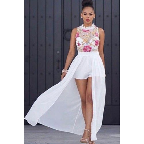 On Sale for $47.23 - White Sleeveless Floral Embroidery Sheer Mesh Chiffon Skort Dress