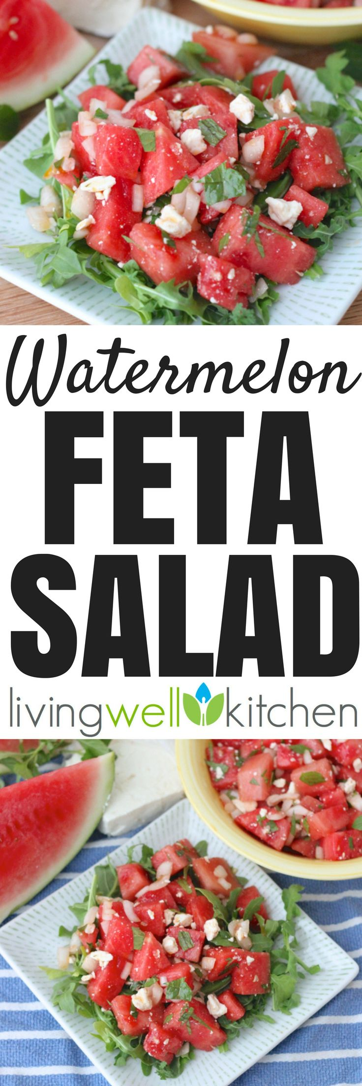 Watermelon Feta Salad from @memeinge is the perfect summer salad with spicy arugula, sweet watermelon and mint, tangy vinegar, and salty feta. Makes a lot and is great turned into a main meal with extra lettuce and added chicken or chickpeas. Gluten free, vegetarian recipe