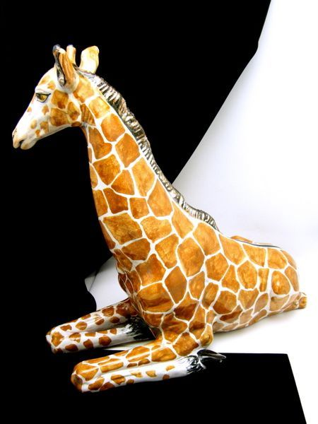 vintage italy majolica pottery giraffe ceramics