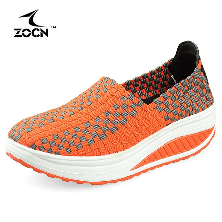 ZOCN Women Wedges Weave Shoes Woman Casual Shoes 2016 New Four Seasons Breathable Platform Shoes Stretch Fabric Zapatos Mujer