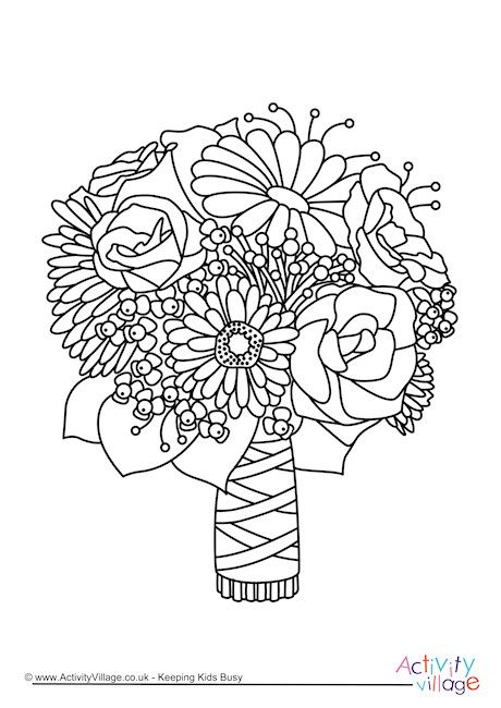 Wedding Bouquet Colouring Page Wedding Coloring Pages