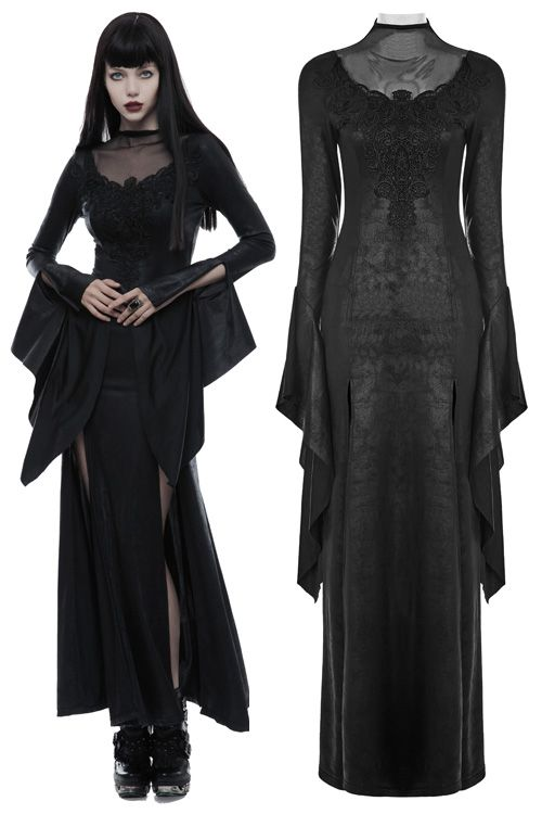8209a6fa2874 Moonspell Long Black Gothic Dress by Punk Rave | Witchy Woman in ...