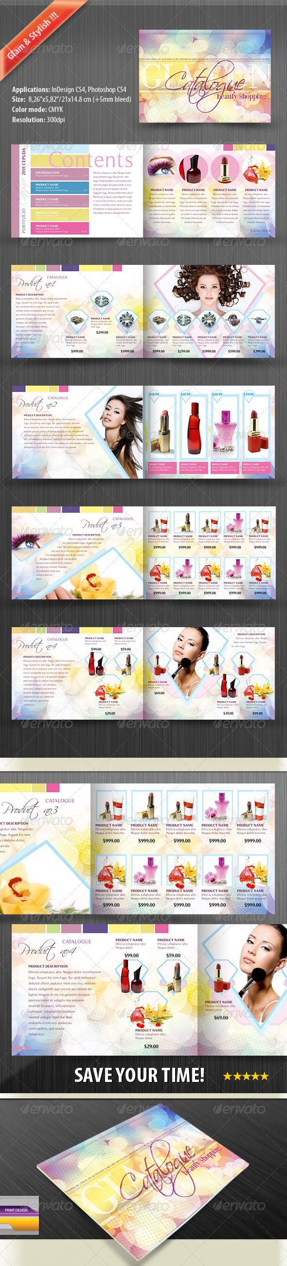 Product Catalog Design Template for Women - Catalogs Brochures Template PSD, InDesign INDD. Download here: https://graphicriver.net/item/product-catalog-for-women/676564?s_rank=709&ref=yinkira