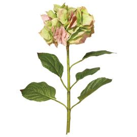 Faux Mop Head Hydrangea Stem - Faded Autumn Pink/Green
