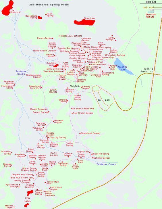Map of Norris Geyser Basin, Yellowstone National Park | yellowstone ...