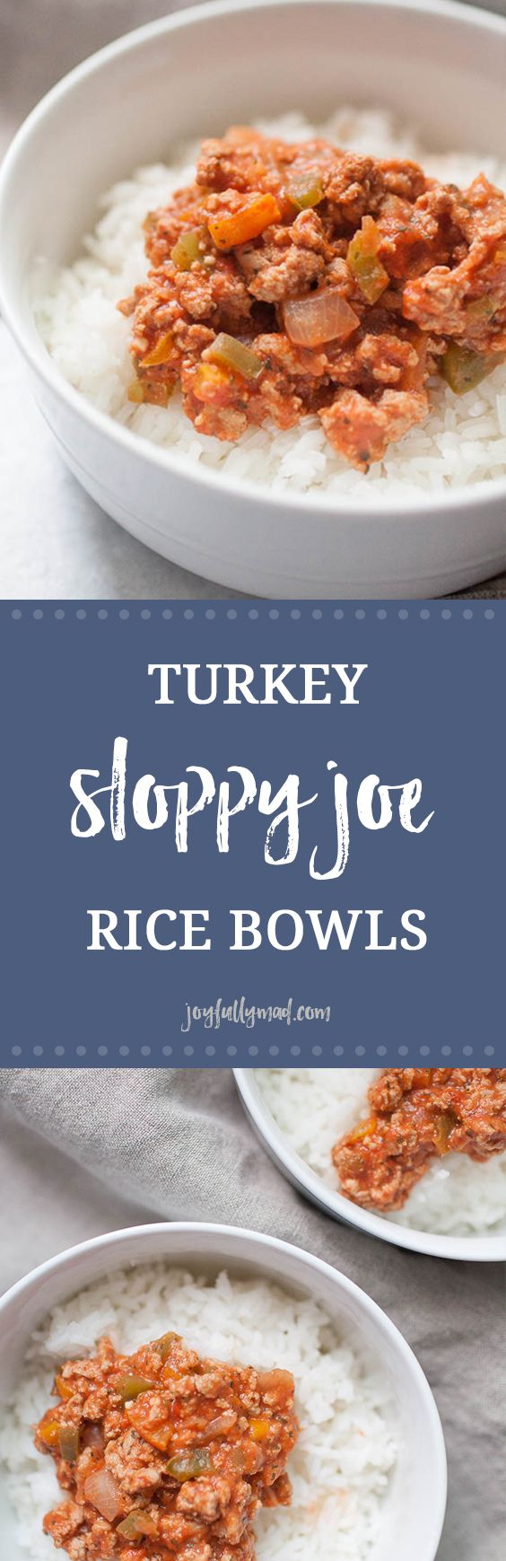 Looking for a gluten free, healthy sloppy joe recipe for the whole family? These Turkey Sloppy Joe Rice Bowls are made from scratch, so there is no added sugar or extra ingredients, only the ingredients that add tons of flavor to this easy weeknight dinner! Ground turkey, green and orange bell peppers, onions and spices all served over a bed of white rice makes this a perfect family friendly healthy meal. via @joyfullymad