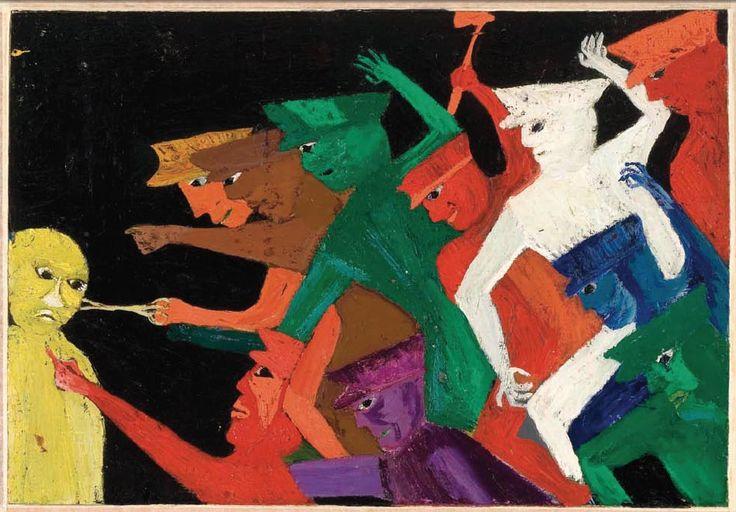 Prisionero inocente. 1964. 31,7 x 45,5 cm. Óleo sobre madera prensada. Fundación Violeta Parra