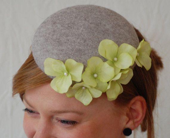 beautiful grey felt button / pillbox hat / fascinator by HeatherFeatherDesign, £45.00