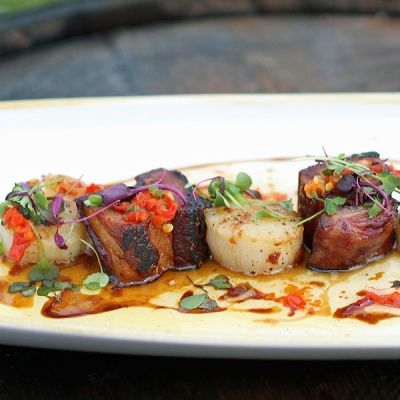 Experience this awesome marriage of seared scallops to tender, fatty and crispy slabs of cured pork belly, essentially the adult version of a PB&J. Th...