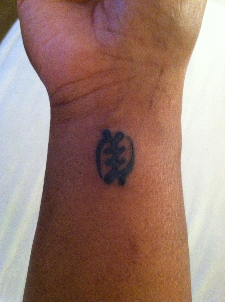 "GYE NYAME meaning ""Except for God"" is the West African symbol of the supremacy and omnipresence of God! Always remember that GOD is always in us!!! I want this in white, not quite centered on my wrist like this. But I love it :)"