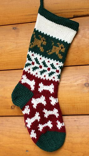 Treat your Dog with this delightful Christmas Stocking! The stocking is knit using the Fair Isle, (stranded color work). It also features a fabulous short row heel technique that will have no holes!