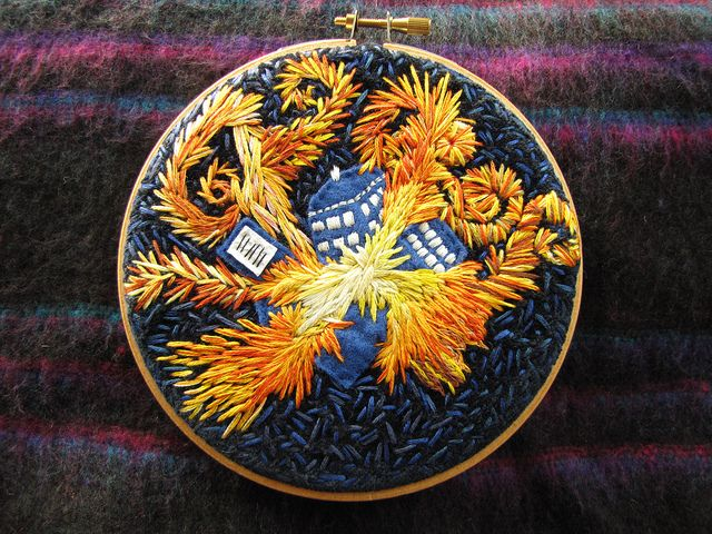 """""""the pandorica opens"""" embroidery - heather ramsden, in the style of van gogh"""