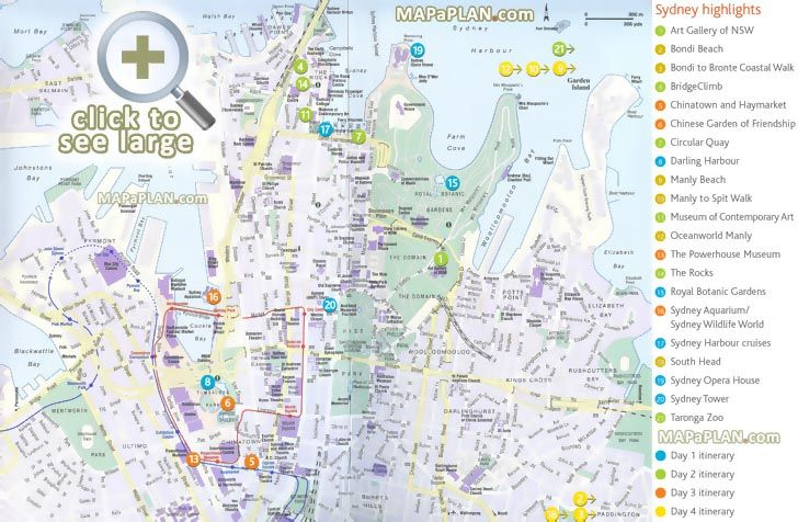 four day trip highlights route planner itinerary list interesting sites opera house rocks Sydney top tourist attractions map