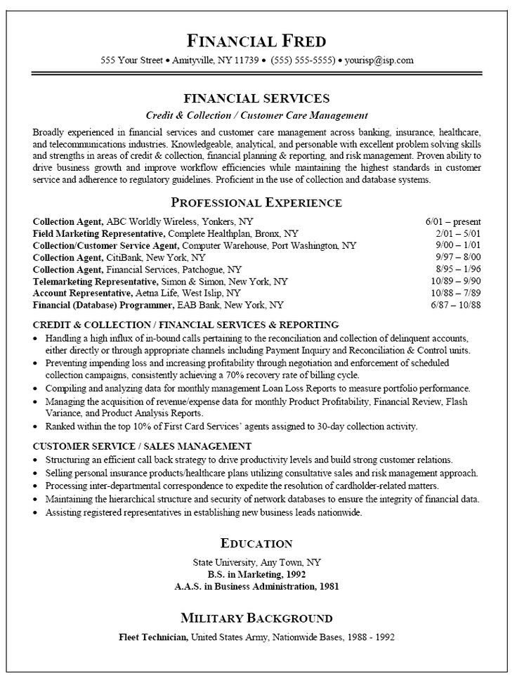 82 best Resume example images on Pinterest Gym, Interview and - account service representative sample resume
