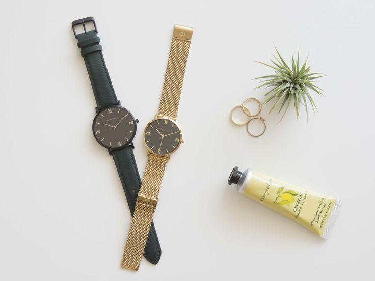 Gold black women's watch with mesh strap. Black on black men's watch.  Adrien Harper Designed in Sydney, Australia Minimalist watch