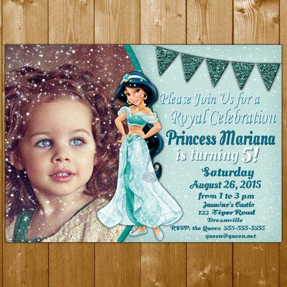 Jasmine Invitation,  Princess Jasmine Invitations, Jasmine, Invitation, Jasmine Birthday Invitation Photo Glitter Sparkles Jasmine Invite