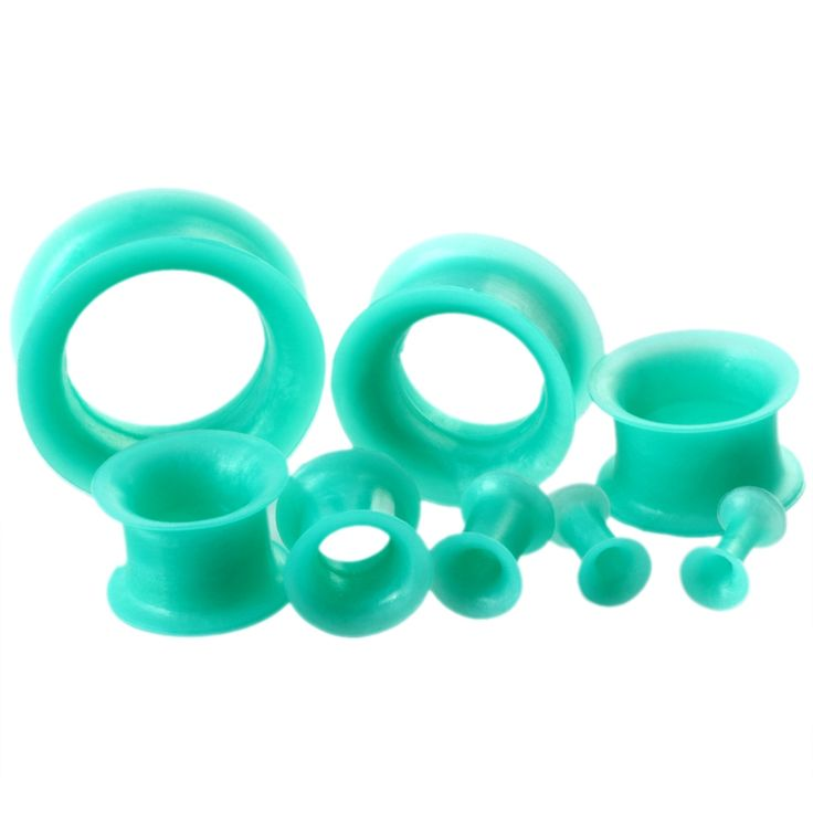 SWANJO 1Pair Flexible Silicone Green Ear Plugs and Tunnels Ear Gauge Plug Tunnel Body Jewelry Piercing Stretcher Expanders