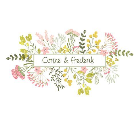 Stijlvolle trouwkaart met getekende bloemen in zachte kleuren. Proefdruk €1,-