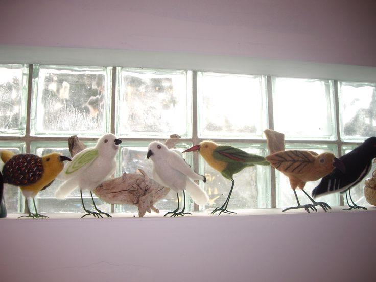getting our beaks dry - felt birds by Elaine Beechey