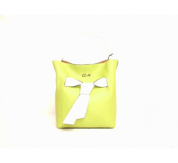 """Cats signature handbag in lime with white bow around the middle of the bag and one white leather handle. Magnetic opening to one compartment with attached zipped leather security pouch. Made in Spain.  Approx measurements: 11"""" H x 10"""" W x 5"""" D £240.00"""